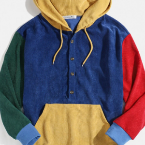 Mens Multi-Color Block Patchwork Button Corduroy Hoodies With Front Pocket discountshub