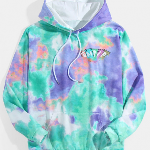 Mens Multi-Color Tie-Dye Relaxed Fit Casual Hoodie With Kangaroo Pocket discountshub