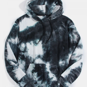 Mens Tie-Dye 100% Cotton Kangaroo Pocket Casual Pullover Hoodie discountshub