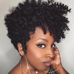 Natural Black Short Curly Wigs Afro Black Women Fluffy Caterpillar High Temperature Fiber Hair discountshub