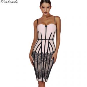 Ocstrade Summer Bandage Dresses 2020 New Spaghetti Strap Black Lace Bodycon Dress Club Evening Party Bandage Dresses for Women discountshub