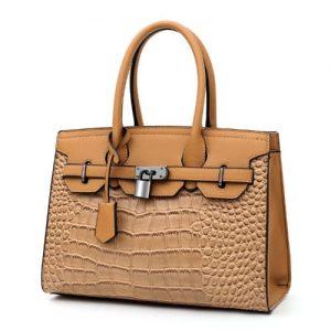 Patent Croc. Leather Handbag- Brown discountshub