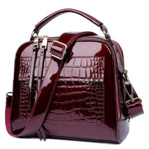 Patent Leather Crocodile Pattern Handbag Shell Solid Leisure Crossbody Bag discountshub