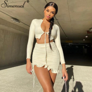 Simenual Ruffles Ruched Drawstring Club Women Matching Sets Long Sleeve Sexy Party Skinny V Neck Top And Skirts 2 Piece Outfits discountshub