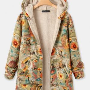 Vintage Chrysanthemum Print Fleece Plus Size Hooded Coat discountshub