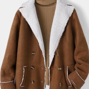 Vintage Plush Pockets Lapel Collar Jacket For Women discountshub