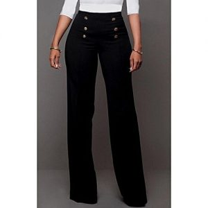 WittyMay Apparels Black High Waist Pant - With Button Design discountshub