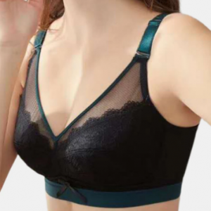 Women Cotton Lace Wireless Gather Full Cup Bowknot Front Thin Comfy Bra discountshub