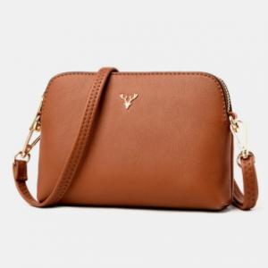 Women Crossbody Bags Medium Dome Leather Shoulder Purses Lightweight Handbags with Multi Pockets discountshub