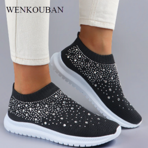 Women Flats Sneakers Crystal Fashion Bling Sneakers Casual Slip On Sock Trainers Summer Women Vulcanize Shoe Zapatillas Mujer discountshub