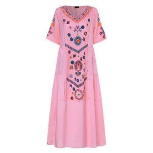 Women Floral Print Loose Summer Maxi Dress discountshub