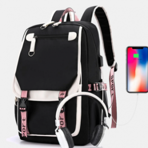 Women Printing USB Charging Large Capacity Backpack Student School Bag discountshub