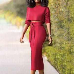 Women Red Two Pieces Set Crop Tops High Waist Skirts Half Sleeves Jupes with Waist Belt Elegant Fashion Suits Classy Office Wear discountshub