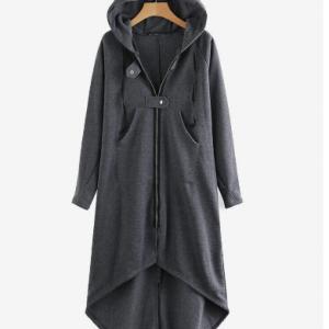 Women Zipper Long Sleeve Irregular Hem Hooded Coat discountshub