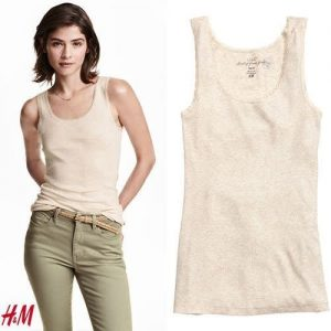 H & M Womens Top With Lace Trim - Peach discountshub
