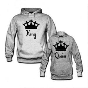 King & Queen Printed Hoodies discountshub