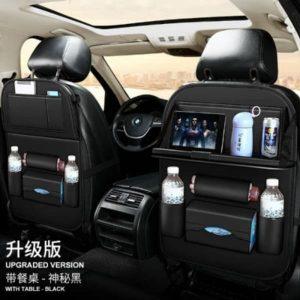 Leather Car Seat Organizer - 1 Piece - Black discountshub