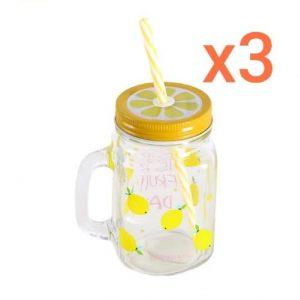 Mason Jar Mugs With Handle, Colored Lids And Plastic Straws (3pcs) discountshub