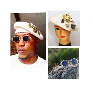 French-style Multi-button Beret + Small Oval Steampunk Sunglasses (unisex) discountshub