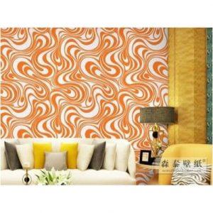 3d Royal Embossed Orange Pattern Wallpaper discountshub