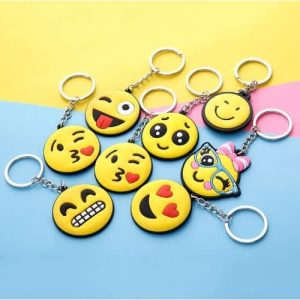 Smiley Yellow Key Chain Rings - 12 Pieces discountshub