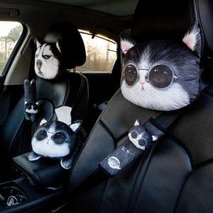1PC Cartoon Cute Car Neck Pillow Headrest Neck Rest Support Cushion Neck Pillow Headrest & Safety Seat Belt Shoulder Strap Pad discountshub