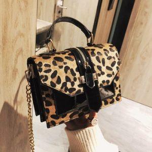 2019 women's leopard PU leather shoulder bags lady solid black and burgundy crossbody chain handbags girl fashion sling bags discountshub
