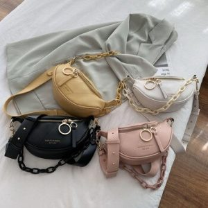 2020 New In Messenger Bag Women Hobos Letter Chains Single Shoulder Chest PU Leather Handbag Wide Straps Day Clutches discountshub