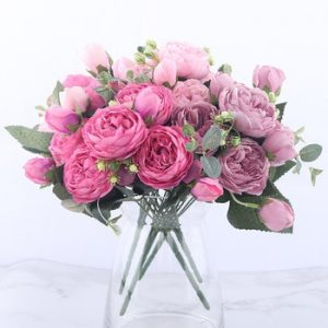 30cm Rose Pink Silk Peony Artificial Flowers Bouquet 5 Big Head and 4 Bud Cheap Fake Flowers for Home Wedding Decoration indoor discountshub