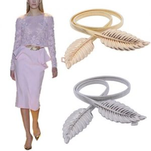 Kellyzola Fashion Leaf Metal Stretch Skinny Waist Belt -gold discountshub