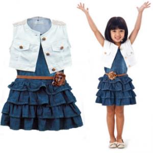 3Pcs Lovely Toddlers Girls Clothing Set (Denim Layered Dress + Petal Belt + Sleeveless Coat) 1Y-7Y discountshub