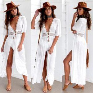 3XL Plus Size Beach Long Maxi Dress Women Beach Cover Up Tunic Pareo White V Neck Dress Robe Swimwear Bathing Suit Beachwear discountshub