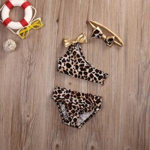 3pcs Leopard Bow baby clothes set Summer Kids Baby Girl Bikini Set Swimwear Swimsuit Bathing Suit discountshub