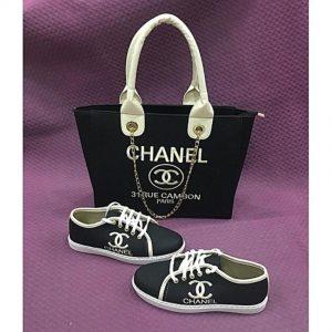 Fashion By LV Women Sneakers And 31 Rue Cambon Paris Handbag Set - Black discountshub