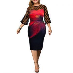 5XL Transparent Mesh Patchwork Dress Polka Dot Vintage Dress Women Elegant Floral Printed Plus Size Dresses Party Dress Robe D30 discountshub