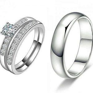 Fashion By LV Wedding Ring - Set Of 3 - Silver discountshub