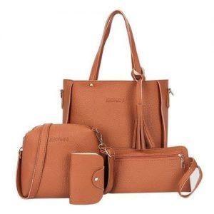 Ladies Handbag - Set of 4 - Brown discountshub