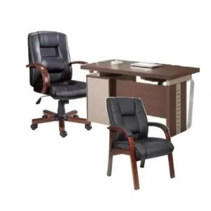 1.4mtrs Office Table With 3 Drawers & Leather & Wooden Office Chair + Visitor Chair discountshub
