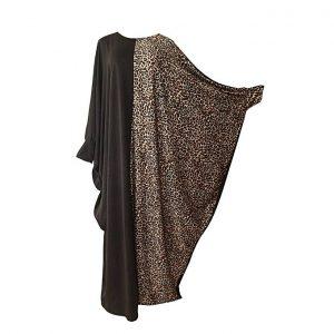 Venturanna Black And Leopard Print Abaya discountshub