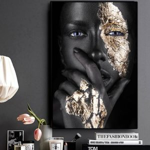 Abstract African Art Black And Gold Woman Oil Painting On Canvas Cuadros Posters And Prints Painting discountshub