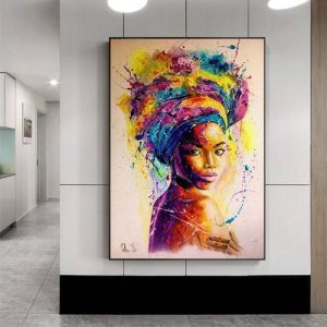 Africa Women Printed Posters Abstract Girl Portrait Canvas Painting Colorful Oil Wall Art Painting For Living Room discountshub