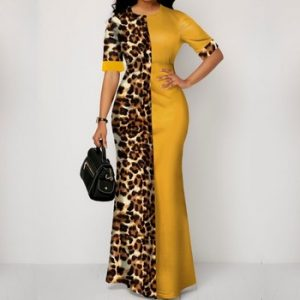 African Dress For Women 2020 Casual Plus Size Slim Patchwork Color Maxi Dresses Elegant Sexy Long Dress 5XL 4XL Africa Clothing discountshub