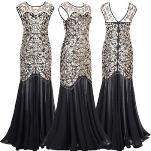 Black Gold Sequins Beading Long Evening Dresses Gorgeous Formal Round Neck Lace Long Sexy Red Women Party 2019 Special Occasion discountshub