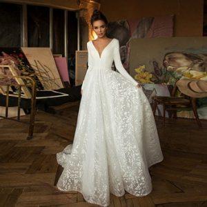 Booma Lace Wedding Dresses 2020 Long Sleeve V-neck Boho Bridal Gowns Satin Backless White Vestido de noiva Plus size custom-made discountshub
