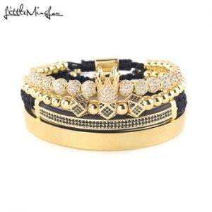 4pcs/Set Luxury Copper beads King Crown Men Bracelet Stainless steel bangle CZ Ball macrame bracelets & bangles for Men Jewelry discountshub