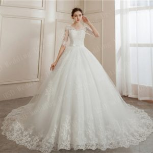 Brides Ball Gowns Lace Embroidery Half Sleeve Fashion Classic V Neck Wedding Dresses Sequined Simple Vestido De Noiva plus size discountshub