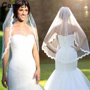 Canner Short Wedding Veil White Lvory One Layer Lace Flower Edge Appliques Bridal Veils Wedding Accessories discountshub