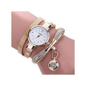 Carude Elegant Fashion Women Leather Rhinestone Wrist Watch-Gold discountshub
