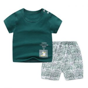 Casual Kids Clothes 2 Piece Set Clothing Green Cool Boy T-shirt + Shorts Clothing Boys Tracksuit Children Baby Clothes discountshub