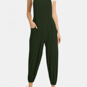 Casual Pockets Jogger Straps Solid Color Jumpsuit discountshub